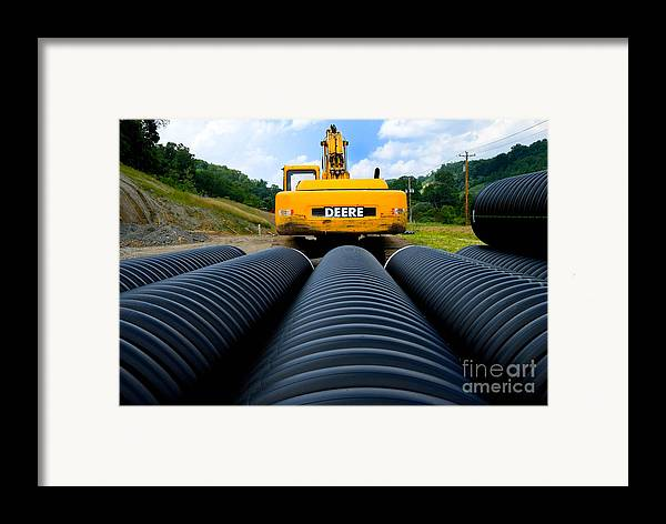 Backhoe Framed Print featuring the photograph Construction Excavator by Amy Cicconi