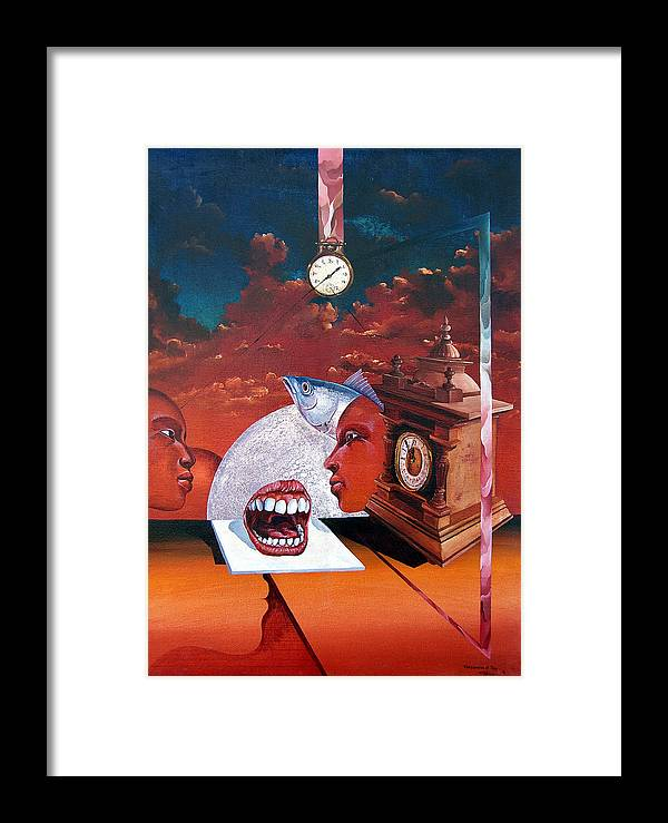 Otto+rapp Surrealism Surreal Fantasy Time Clocks Watch Consumption Framed Print featuring the painting Consumption Of Time by Otto Rapp
