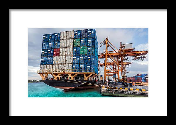 Bangkok Framed Print featuring the photograph Container Cargo Freight Ship With Working Crane Loading by Anek Suwannaphoom