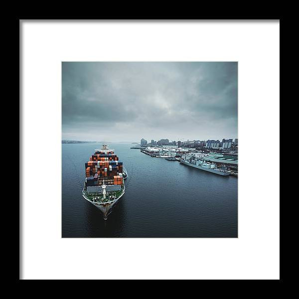 Freight Transportation Framed Print featuring the photograph Container Ship In Halifax Harbour by Shaunl