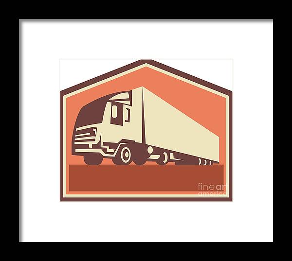 Truck Framed Print featuring the digital art Container Truck And Trailer Flames Retro by Aloysius Patrimonio