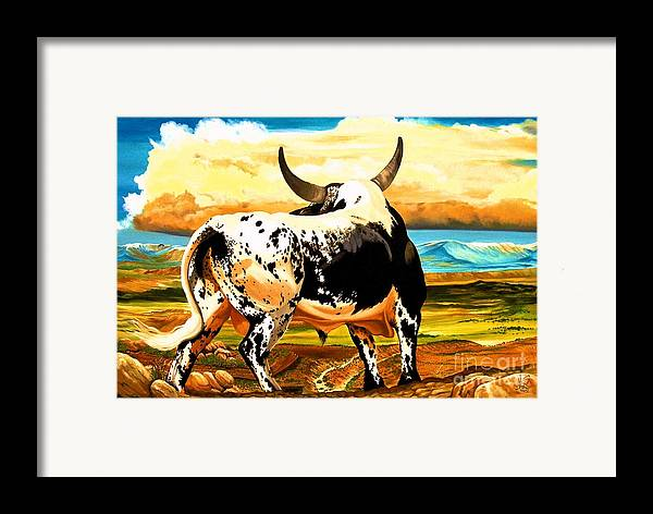 Bucking Bulls Framed Print featuring the painting Contemplated Journey by Cheryl Poland