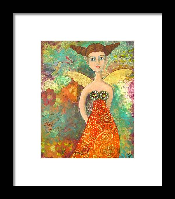 Angel Framed Print featuring the mixed media Contemplating Hummingbirds by Sharon Woodward