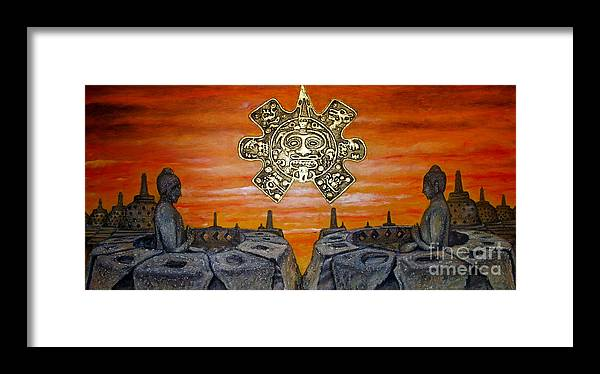 Borobudur Framed Print featuring the painting Contemplation by Anna Maria Guarnieri