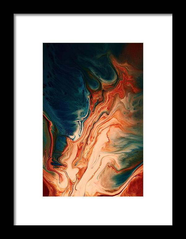 Red Framed Print featuring the painting Contemporary Abstract Art By Kredart - Radiating Sun Streak by Serg Wiaderny