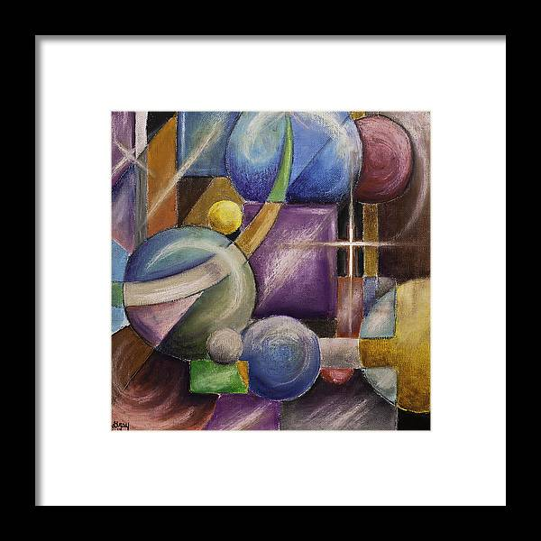 Contemporary Geometric Shapes Abstract Painting On Gallery Wrapped Canvas Framed Print