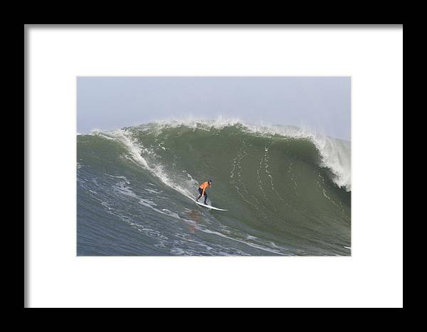 Mavericks Surf Contest Framed Print featuring the photograph Contestant In The 2010 Mavericks Surf Contest by Scott Lenhart