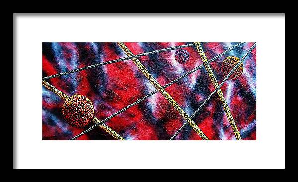 Abstract Framed Print featuring the painting Continuum IV red sky by Micah Guenther