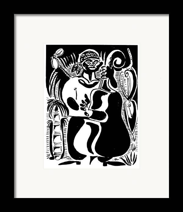 Cuba Music Dance Contra Bass Upright Bass Vaskovsky Vadim Art Print Ink Paper Watercolour Black White Carib Bandana Palm South Lino Cut Framed Print featuring the drawing Contrabass by Vadim Vaskovsky