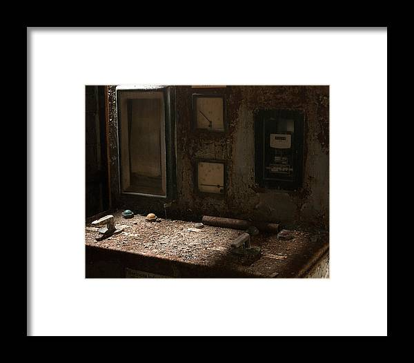 Art Framed Print featuring the photograph Control Panel In Decay by Marinus Ortelee