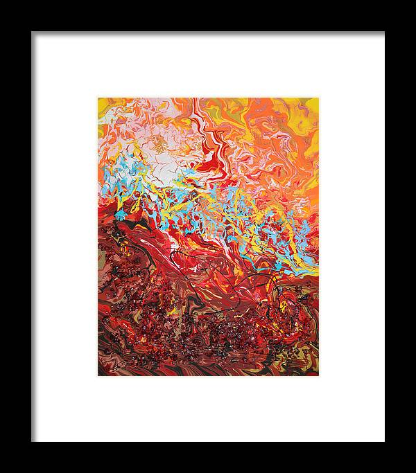 Bold Abstract Framed Print featuring the mixed media Cooling Lava by Donna Blackhall