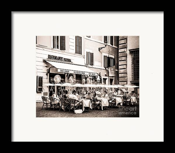 Ristorante Framed Print featuring the photograph Cooling Off In Sepia by Christina Klausen