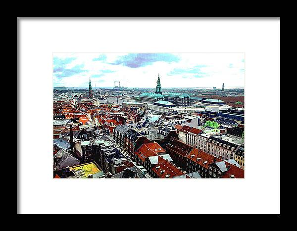 Copenhagen Framed Print featuring the photograph Copenhagen Roofs With Danish Parliament I by Kim Lessel
