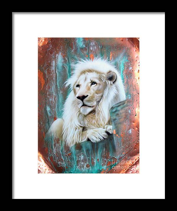 Copper Framed Print featuring the painting Copper White Lion by Sandi Baker