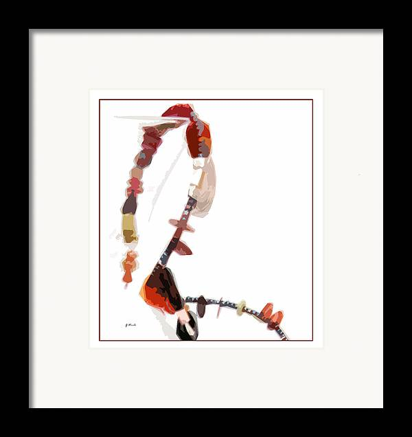 Coral Beads Framed Print featuring the photograph Coral And Black Glass Beads by Gretchen Wrede