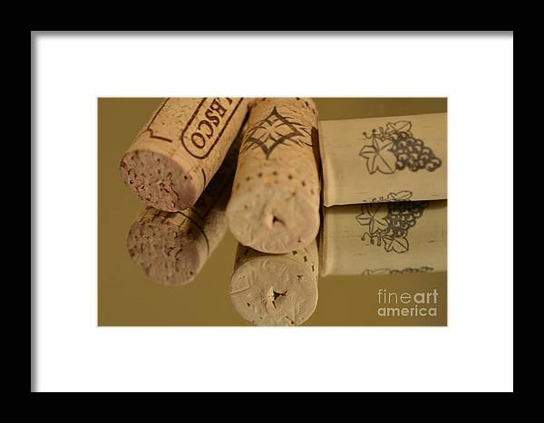 Wine Corks Framed Print featuring the photograph Cork Reflections by Paulina Roybal