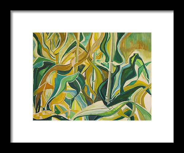 Farm Framed Print featuring the painting Corn Curves by Catherine Jones Davies