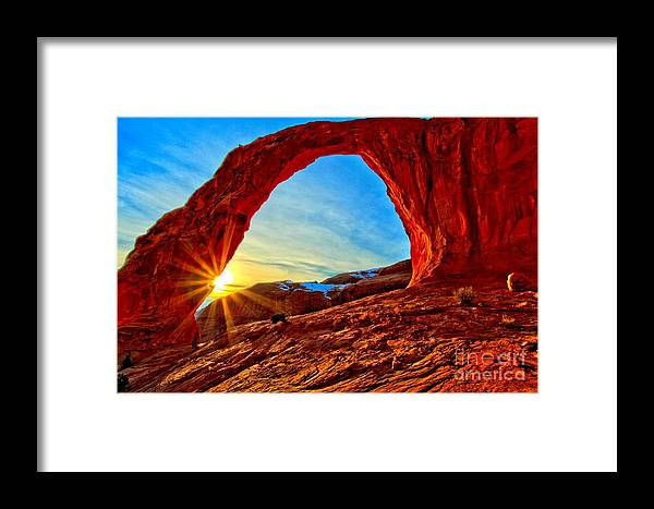 Coronoa Arch Framed Print featuring the photograph Corona Sun Burst by Adam Jewell