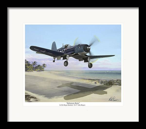 Airplane Framed Print featuring the painting Corsair Takeoff Vf-17 Jolly Rogers by Mark Karvon