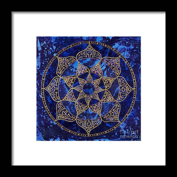 Mandala Framed Print featuring the painting Cosmic Blue Lotus by Charlotte Backman