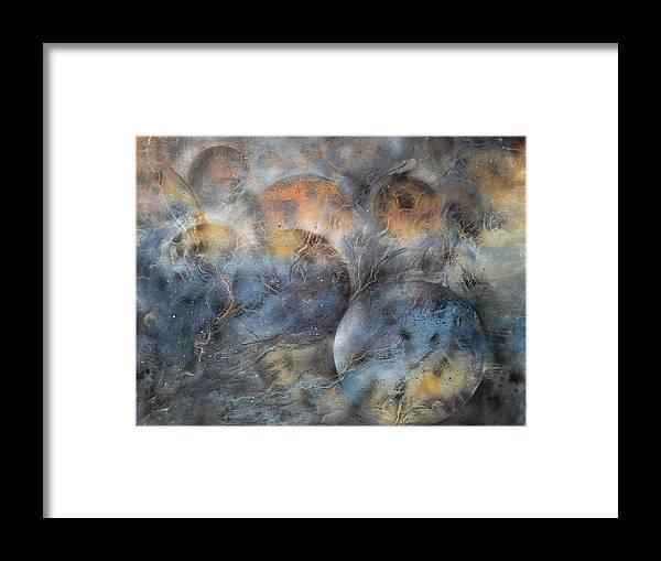 Cosmic Orbit Framed Print featuring the painting Cosmic Orbit by Ilona Petzer