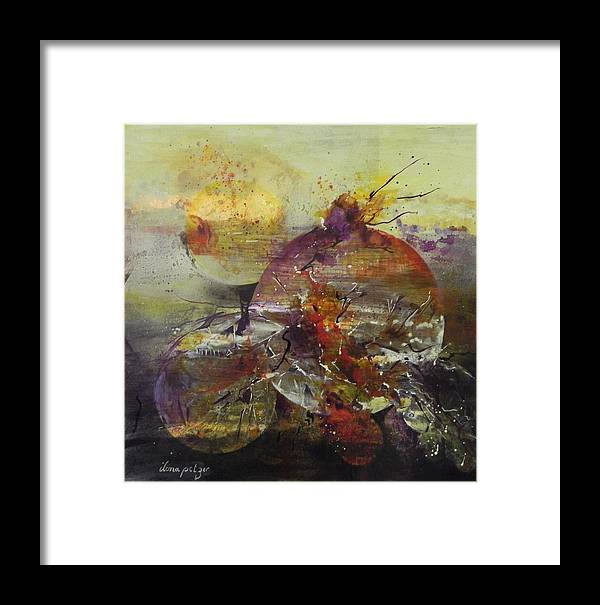 Cosmos Framed Print featuring the painting Cosmic Storm by Ilona Petzer