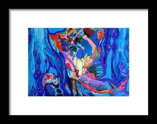 Abstract Framed Print featuring the painting Cosmos2 by Michael C Crane