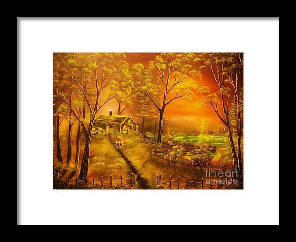 Cottege Framed Print featuring the painting Cottage By The Lake-original Sold- Buy Giclee Print Nr 32 Of Limited Edition Of 40 Prints by Eddie Michael Beck