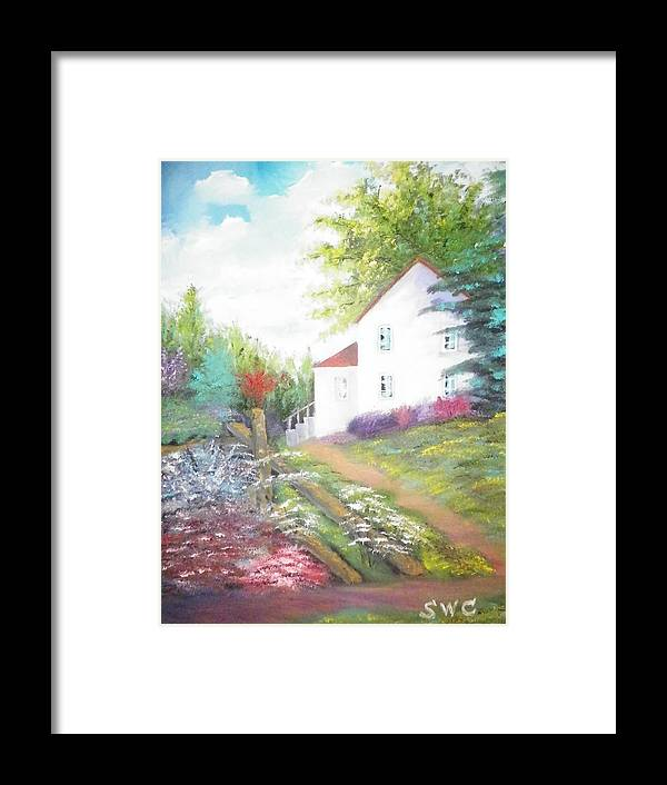 Oil Painting Framed Print featuring the painting Cottage Gardens by Steven Clayton