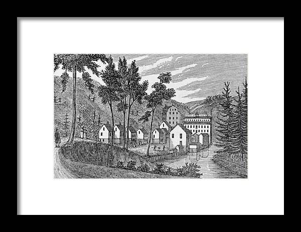 River Framed Print featuring the photograph Cotton Factory Village, Glastenbury, From Connecticut Historical Collections, By John Warner by American School