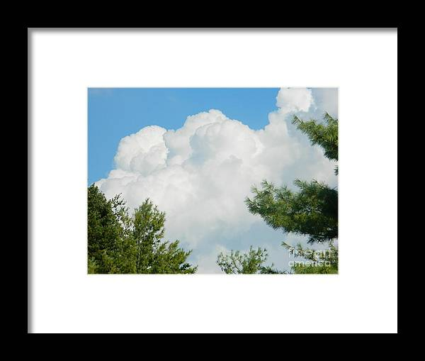 Cottonballs In The Sky Framed Print featuring the photograph Cottonballs In The Sky by Emmy Vickers
