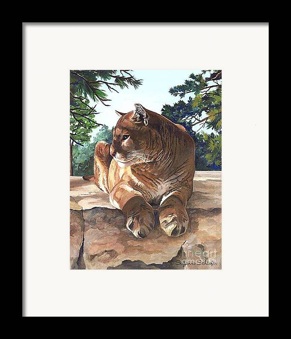 Cougar Framed Print featuring the painting Cougar Outlook by Suzanne Schaefer