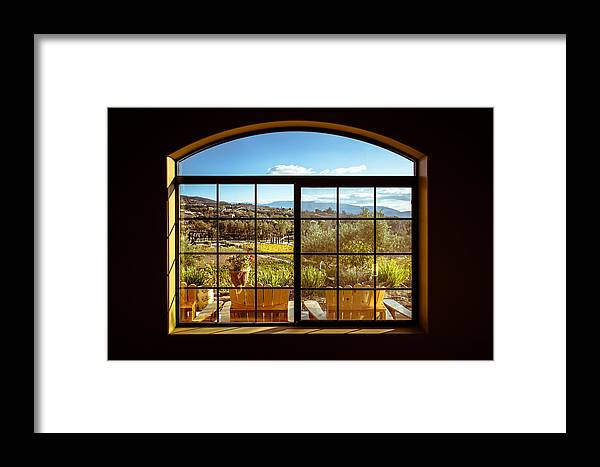 Window Framed Print featuring the photograph Cougar Winery View by Lauri Novak