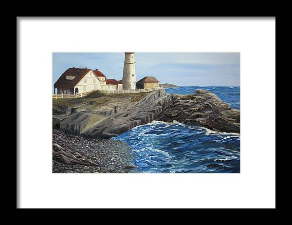Seascape Framed Print featuring the painting Could Be Portland by Barbara McDevitt
