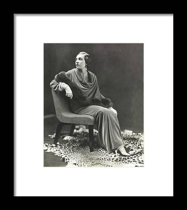 Fashion Framed Print featuring the photograph Countess Celani Lepri Wearing A Velvet Dress by George Hoyningen-Huene