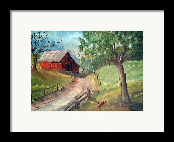 Barn Framed Print featuring the mixed media Country Barn by Judi Pence