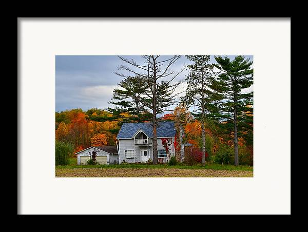 Autumn Scenes Framed Print featuring the photograph Country Cottage In Autumn by Julie Dant