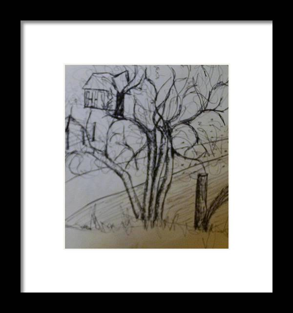 Tree Framed Print featuring the drawing Country Road by Erika Chamberlin