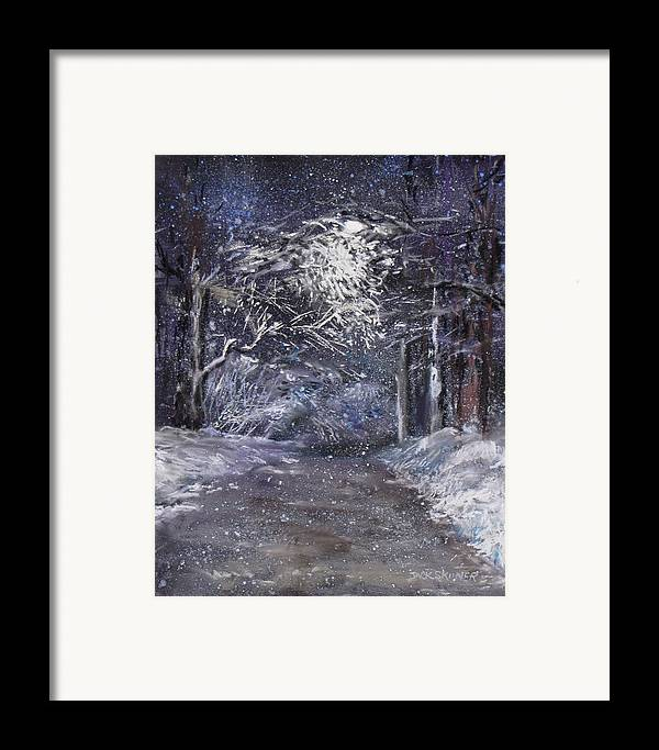 Snow Framed Print featuring the painting Country Road On A Wintery Night by Jack Skinner