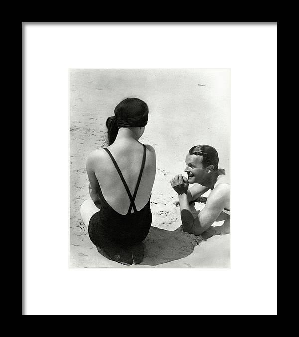 Outdoors Framed Print featuring the photograph Couple On A Beach by George Hoyningen-Huene