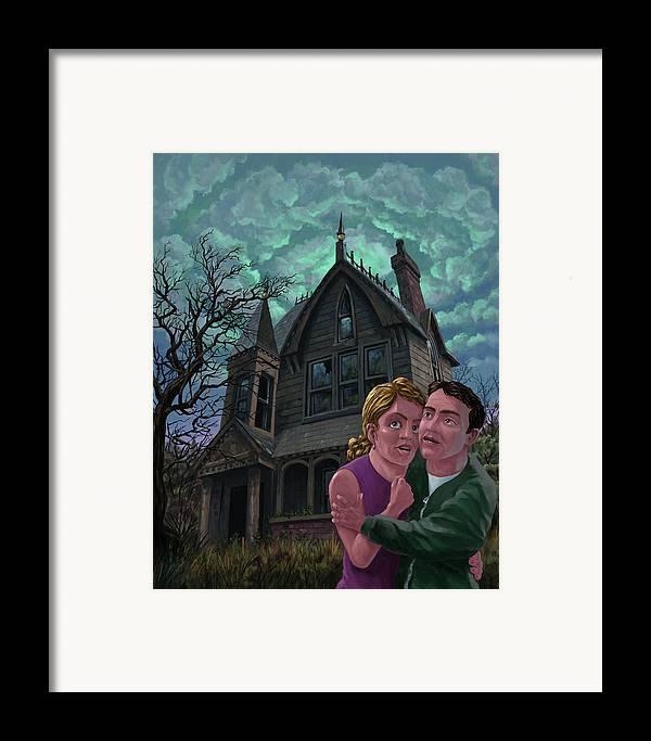 Ghost Framed Print featuring the painting Couple Outside Haunted House by Martin Davey