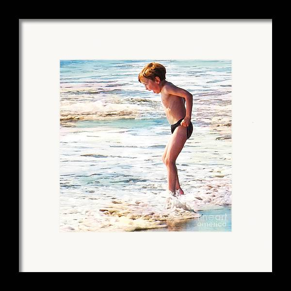 Boy In The Ocean Framed Print featuring the digital art Courage by Artist and Photographer Laura Wrede