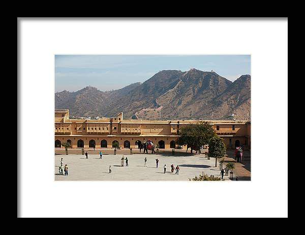 Shadow Framed Print featuring the photograph Courtyard Of Amer Fort, Rajasthan by Bjarte Rettedal