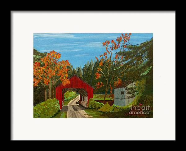 Path Framed Print featuring the painting Covered Bridge by Anthony Dunphy
