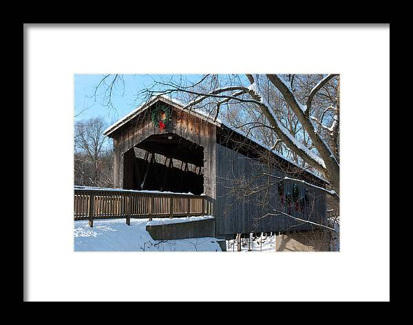 Covered Bridge Framed Print featuring the photograph Covered Bridge At Christmas by Shelley Thomason