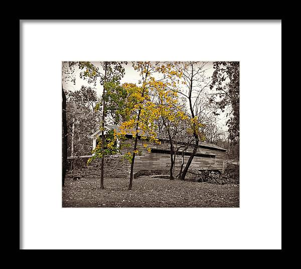 Covered Framed Print featuring the photograph Covered Bridge In Autumn by Brenda Conrad