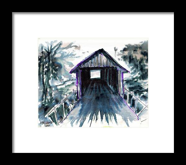 Old South Framed Print featuring the digital art Covered Bridge by Seth Weaver