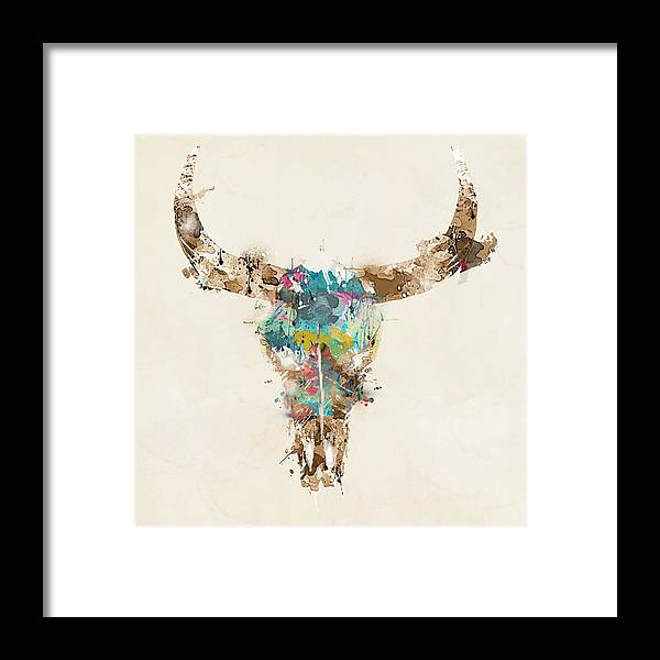 Cow Skull Framed Print featuring the painting Cow Skull by Bri Buckley
