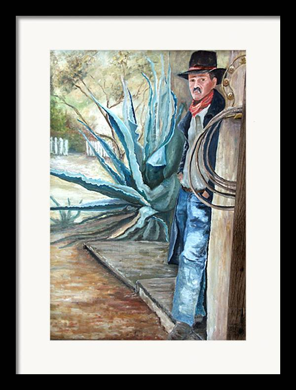 Cowboy Framed Print featuring the painting Cowboy by CJ Rider