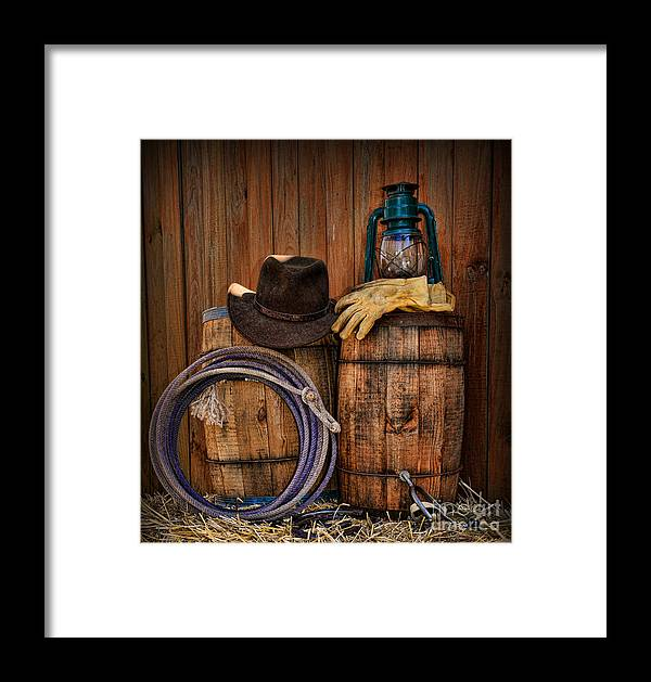 2e80aadecdc Barn Framed Print featuring the photograph Cowboy Hat And Bronco Riding  Gloves by Paul Ward